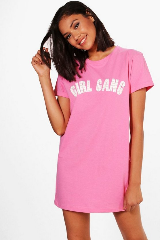 Joan Pearl Detail Girl Gang T-Shirt Dress
