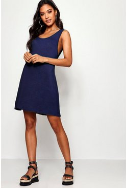 Womens Navy V Back Swing Dress