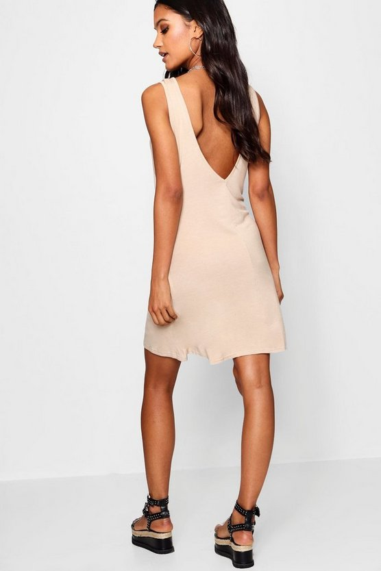 Womens Sand V Back Swing Dress