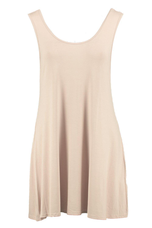 Boohoo-Damen-Jenny-Ausgestelltes-Kleid-mit-V-Rueckenausschnitt