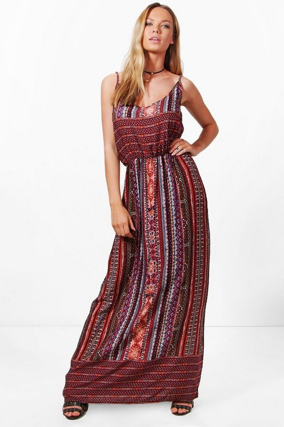 Katerina Keyhole Detail Printed Maxi Dress