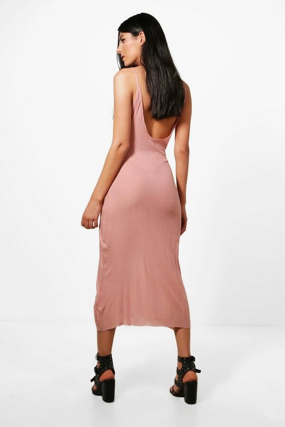 Womens Dusky pink Nadia Ribbed Low Back Strappy Maxi Dress