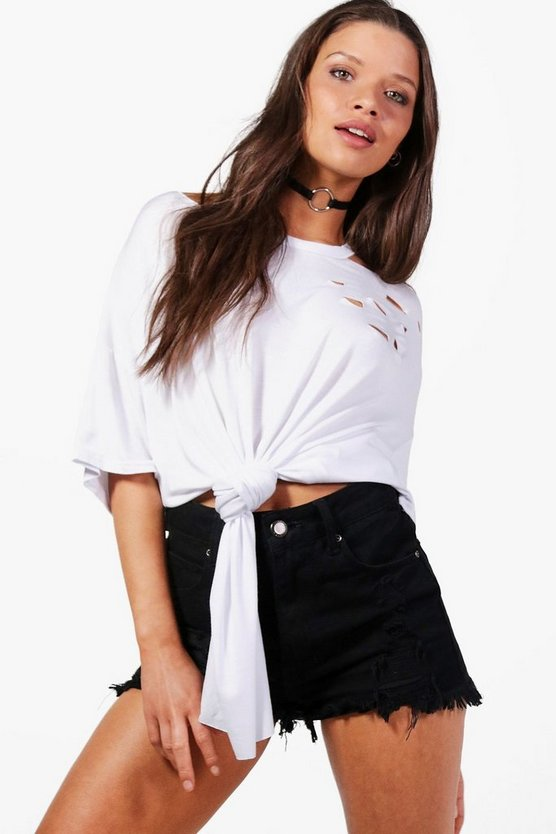 Maya Distressed Cold Shoulder Tie Front