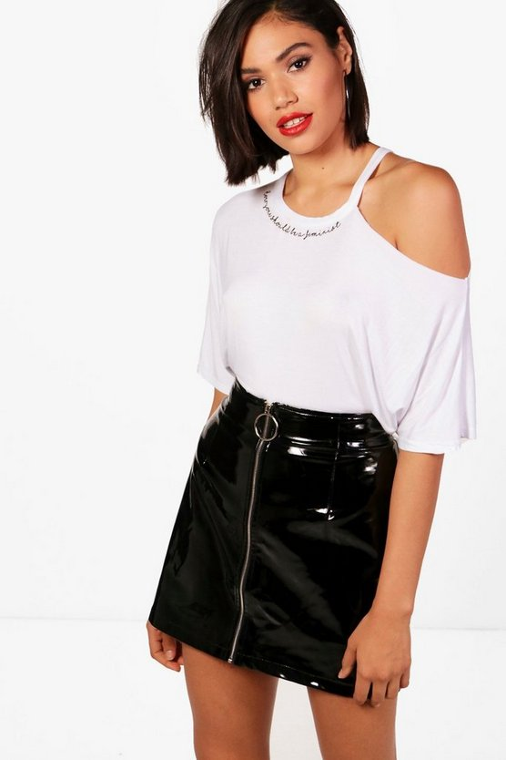 Sally Cut Out Shoulder Slogan Tee