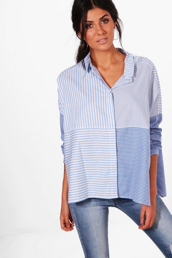 Womens Blue Ellie Spliced Stripe Oversized Shirt