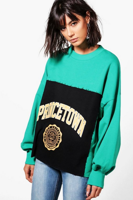 Womens Green Raw Edge Oversized  Slogan Sweat