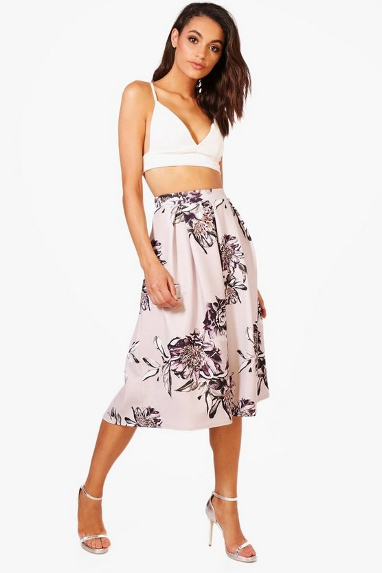 Loula Floral Box Pleat Skater Skirt