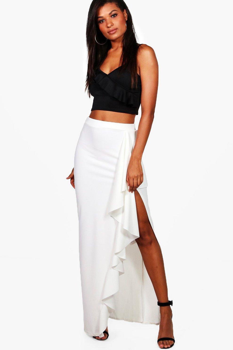6c2d86fe232 Ruffle Front Split Crepe Maxi Skirt