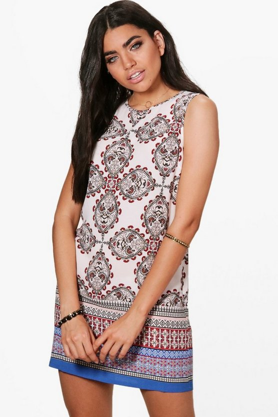 Womens White Holly Paisley Border Sleeveless Shift Dress