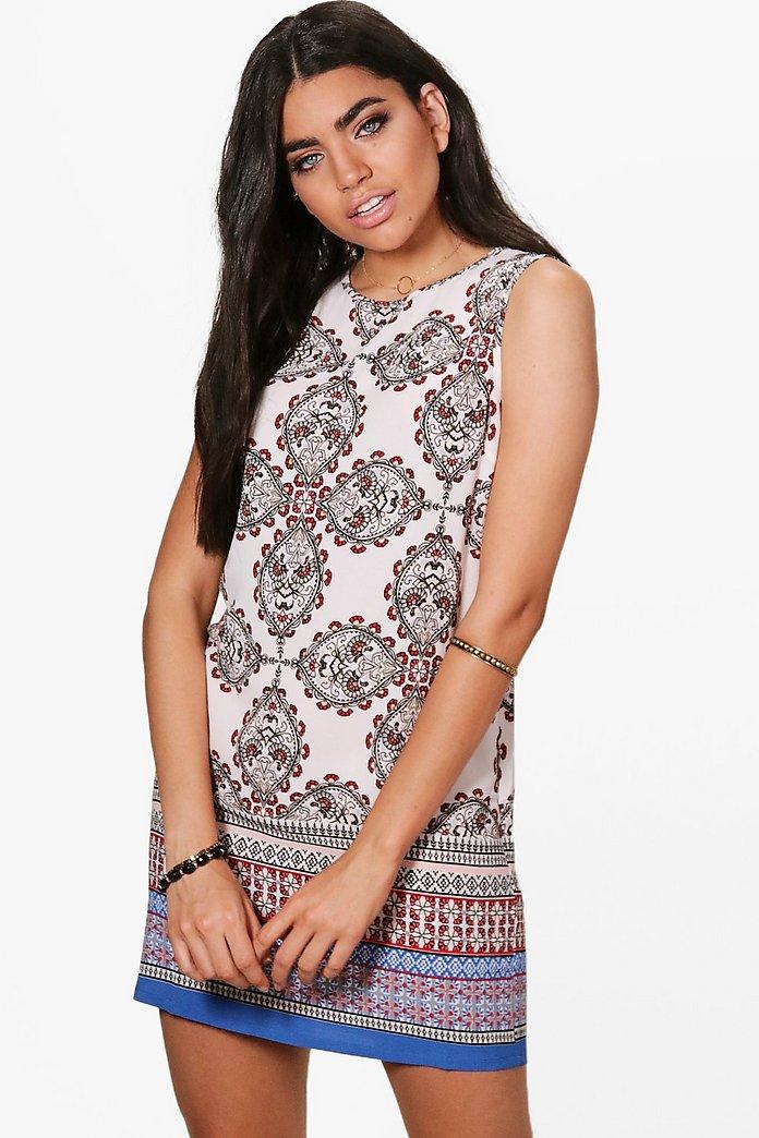 Holly Paisley Border Sleeveless Shift Dress | boohoo Australia