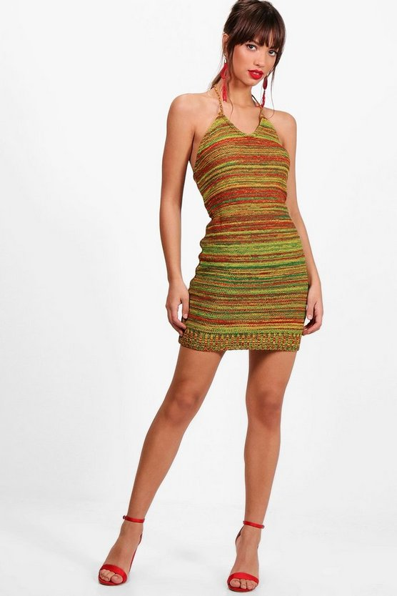 Maxinne Mixed Festival Knitted Mini Dress