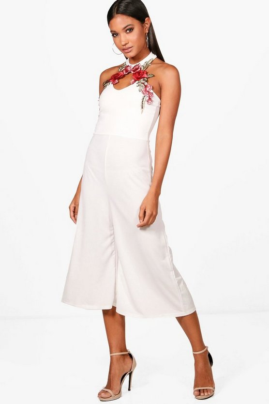 Natalie Embroidered Detail Culotte Jumpsuit