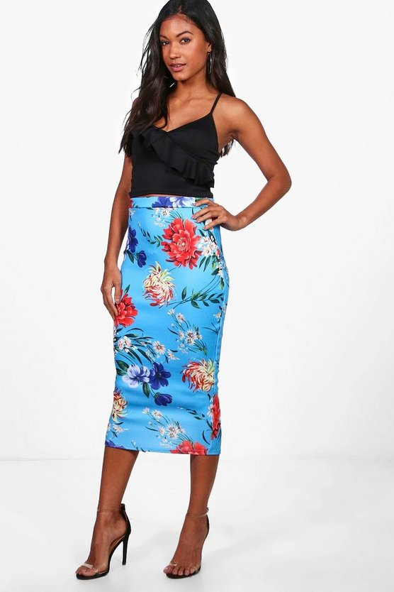 Gracie Tropical Floral Midi Skirt
