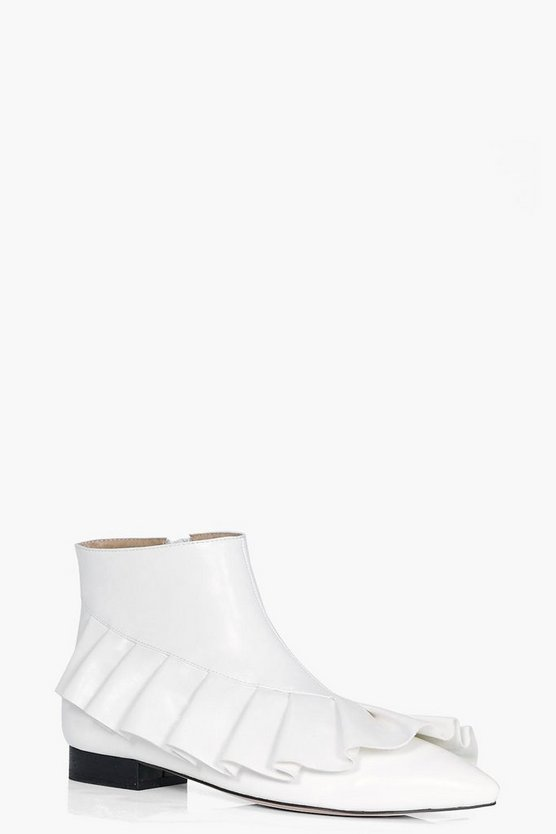 Bethany Frilled Pointed Ankle Boots