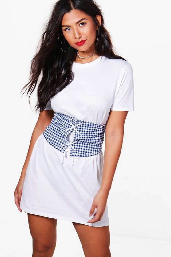 Rebecca Check Lace Up Corset T-Shirt Dress