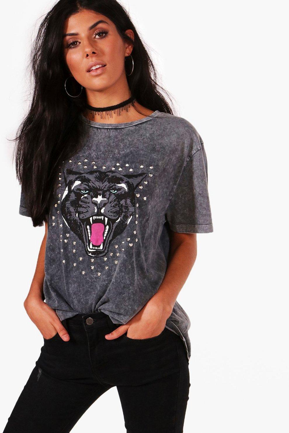 5bf363622c830 ria t-shirt imprimé et clouté délavé à l'acide | Boohoo