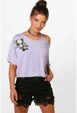 Womens Lilac Charlie Embroidered Distressed Collar Crop Top