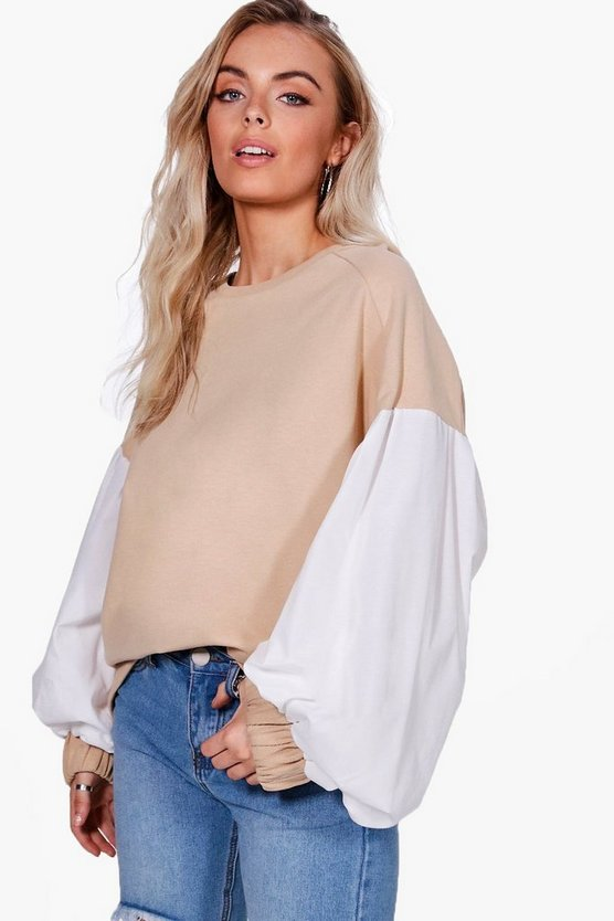 Balloon Sleeve Contrast Sweat