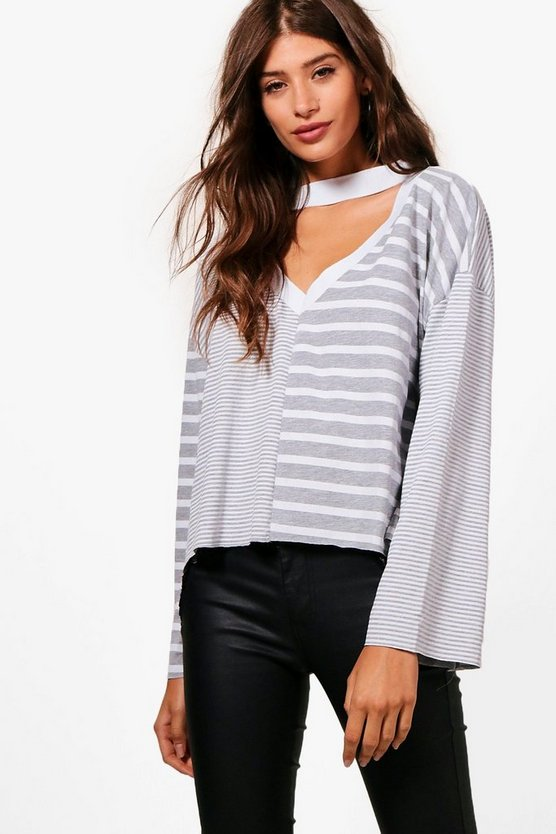 Ella Spliced Stripe Choker Tee