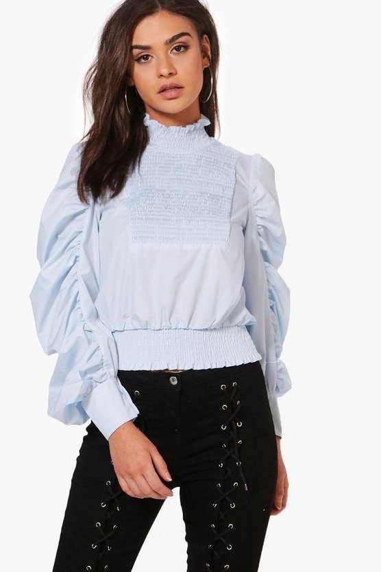 Freya Shirred High Neck Woven Blouse