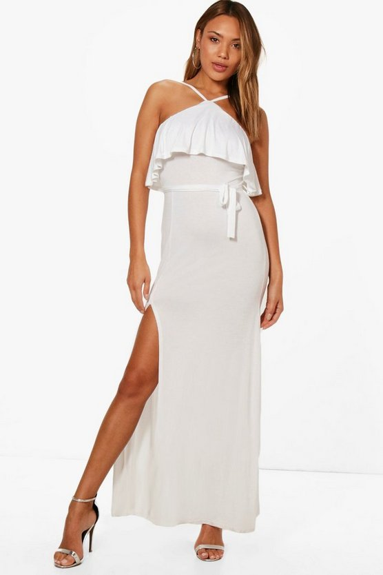 Ruffle Layer Tie Detail Maxi Dress