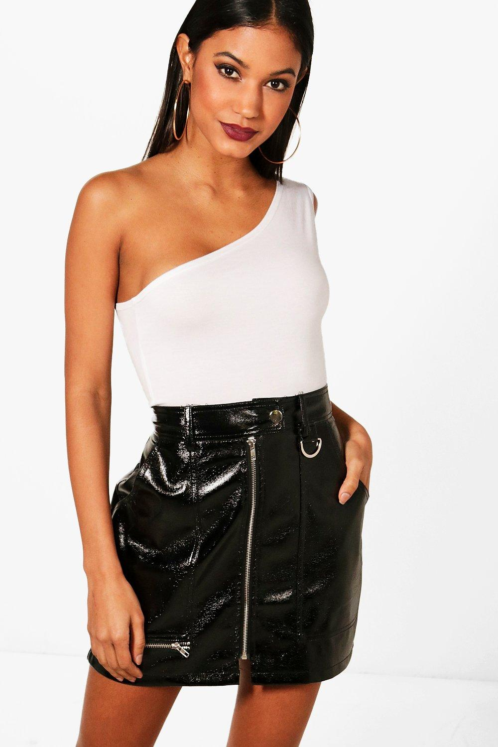 36047bc342e84 Georgina Basic One Shoulder Crop Top. Hover to zoom