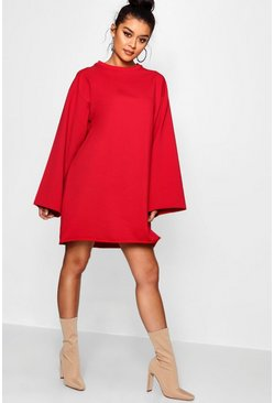 Womens Red Wide Sleeve Raw Edge Sweat Dress