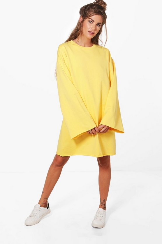 Womens Yellow Wide Sleeve Raw Edge Sweat Dress