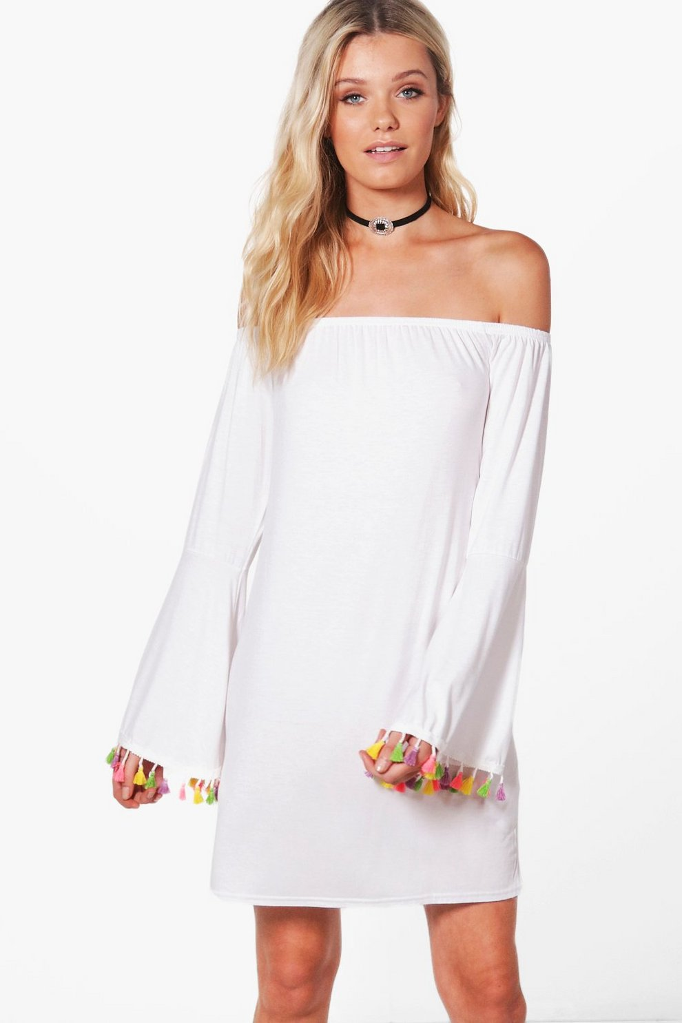1c6f37f3a403 Cara Off The Shoulder Tassel Trim Dress | Boohoo