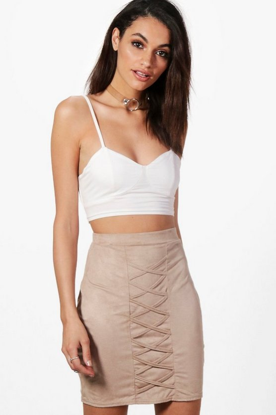 Suedette Lace Up Mini Skirt