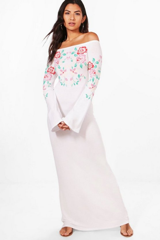 Mel Off The Shoulder Printed Embroidery Maxi Dress
