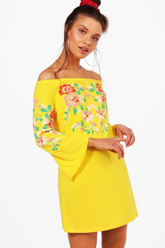 Off Shoulder Printed Embroidery Shift Dress, Yellow, Donna
