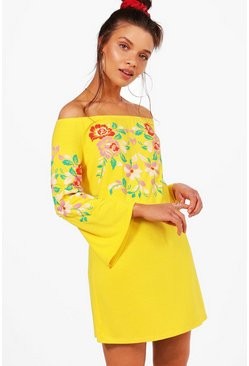Womens Yellow Off Shoulder Printed Embroidery Shift Dress