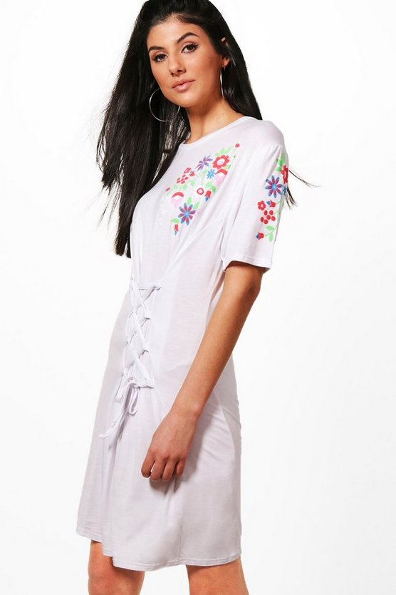 Printed Embroidery T-Shirt Dress With Lace Up