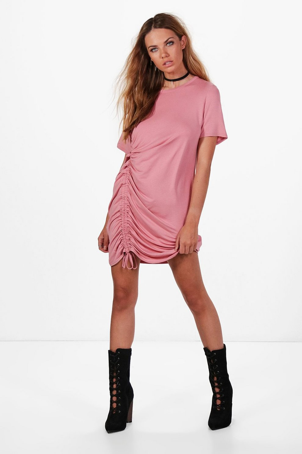 Beth Ruched Side T Shirt Dress Boohoo