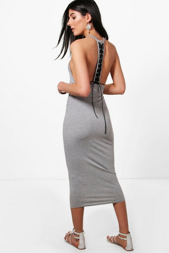 Olivia Lace Up Back Midi Dress