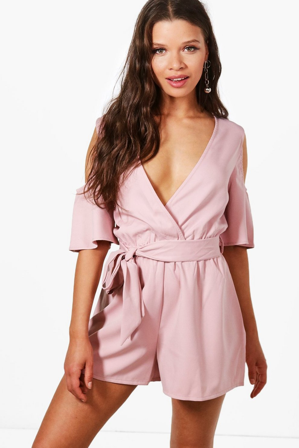 f03627312a Cold Shoulder Frill Sleeve Playsuit