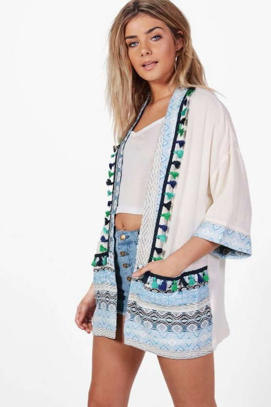 Harriet Pom Pom Embroidered Trim Kimono