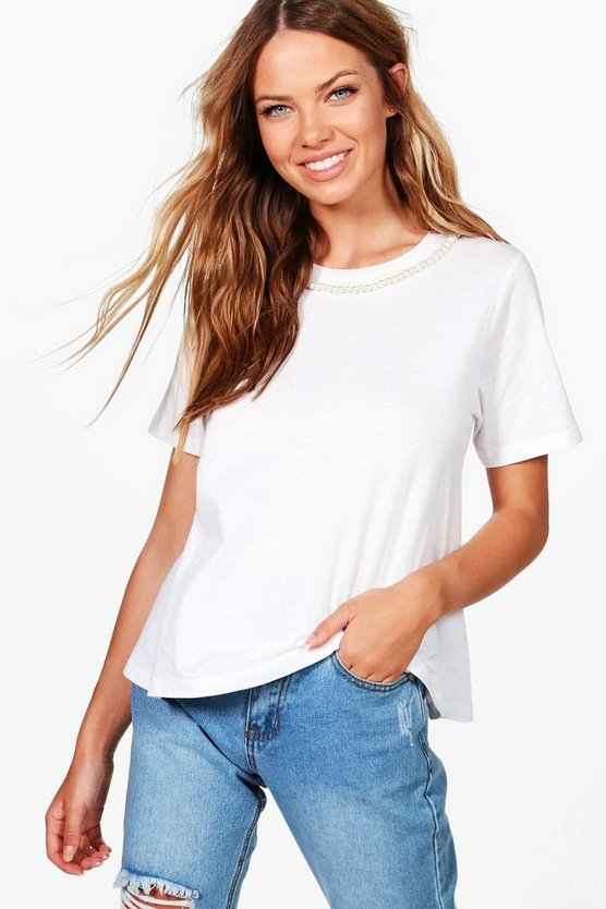 Zoe Pearl Trim Neck Lace Tee