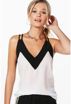 Womens Ivory Contrast Neck Woven Cami
