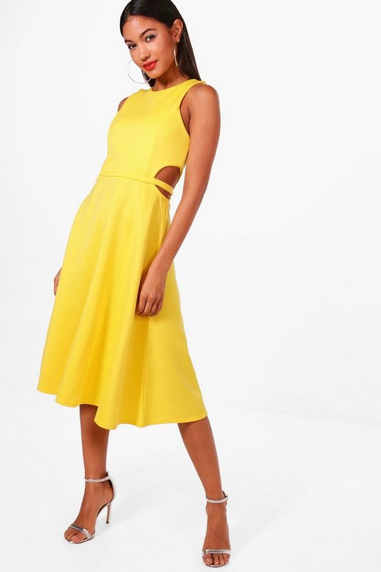 Womens Yellow Sleeveless Cut Out Mixi Skater Dress