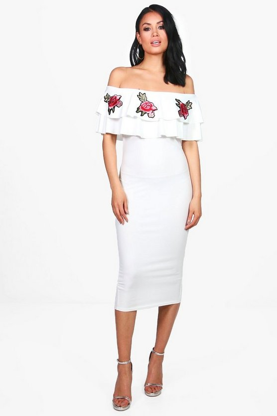 Judy Off Shoulder Applique Midi Dress