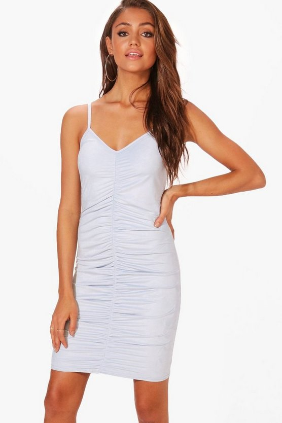 Genie Suedette Strappy Ruched Midi Dress