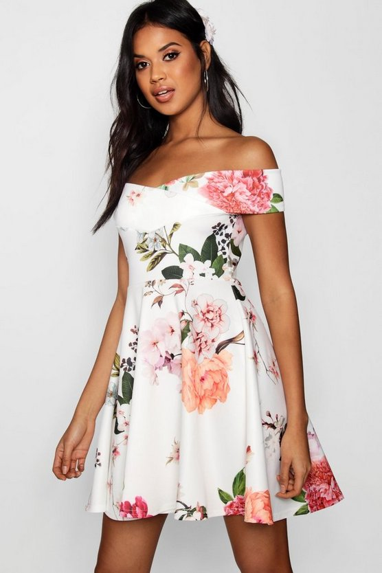 Multi Floral Print Off Shoulder Skater Dress