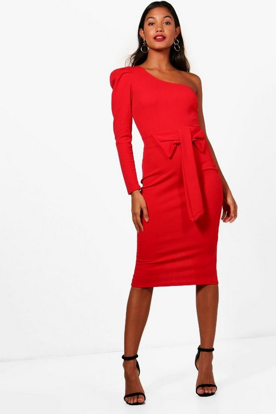 One Shoulder Bow Waist Midi Dress