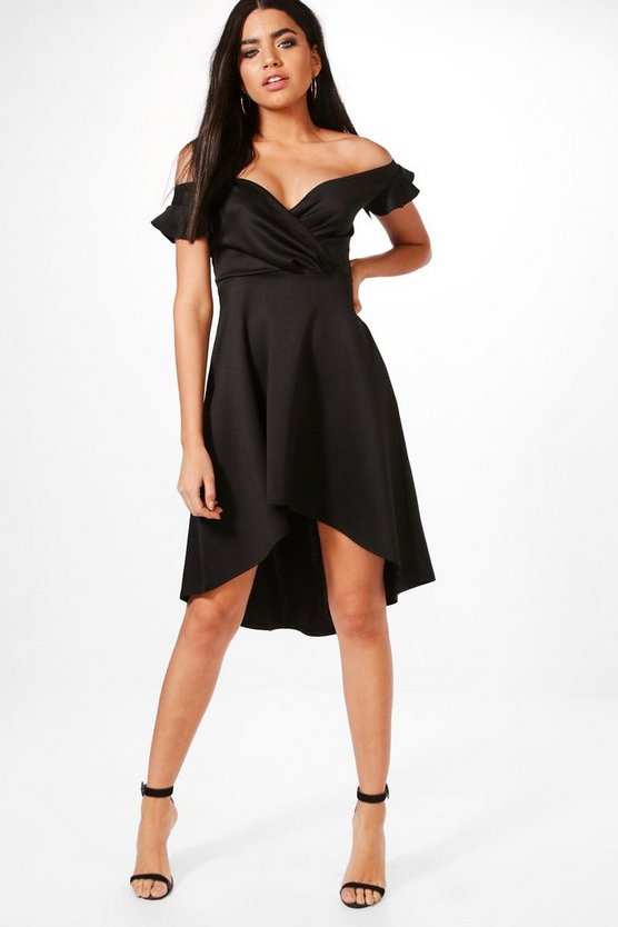 Alecta Frill Off Shoulder Skater Dress