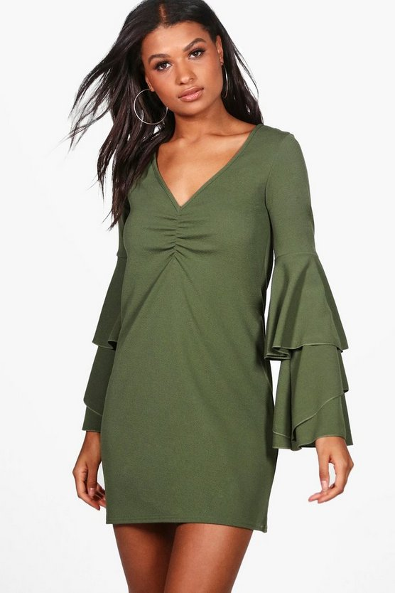 Ashley Tiered Frill Sleeve Shift Dress