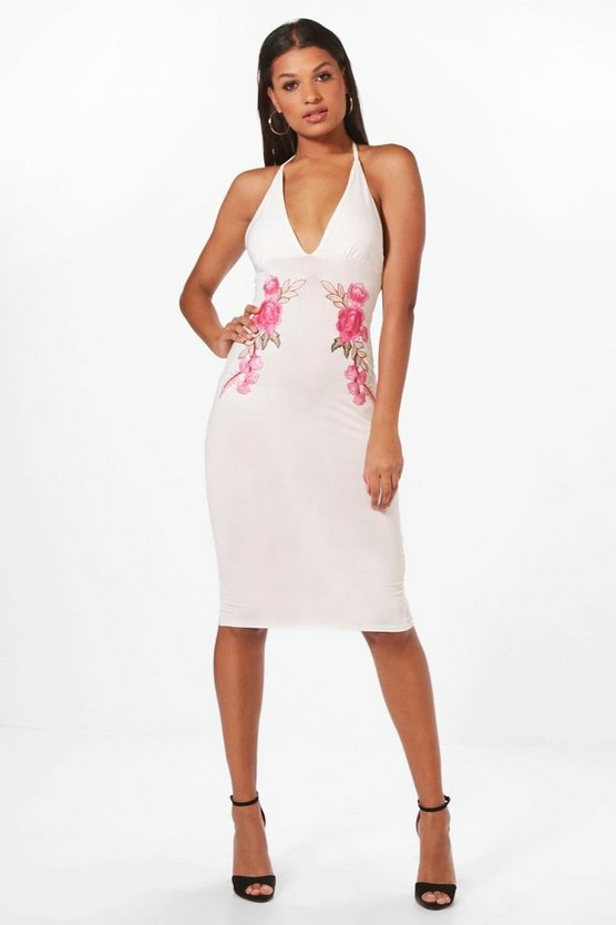 Halterneck Applique Midi Dress