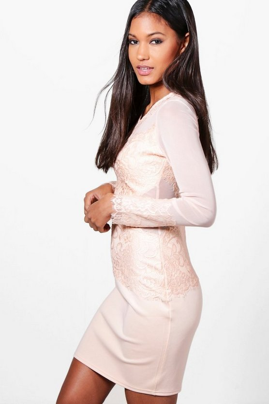Mariane Mesh+Eyelash Lace Bodycon Dress
