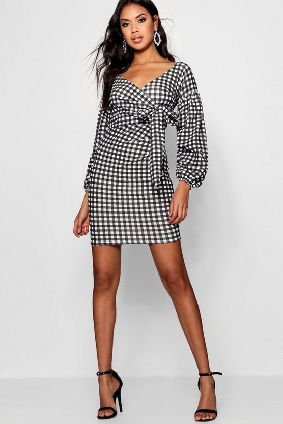 Womens Gingham Ruffle Sleeve Bodycon Dress
